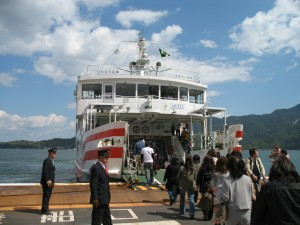 Ferry to Miyajima is a small ferry. Only 10 minutes cruise.