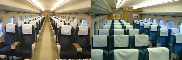 Reserved ordinary gives you same comfortability as Green on Hikari Rail Star. Reserved(right)/Non Reserved(left) (C) Sonic Rail Garden