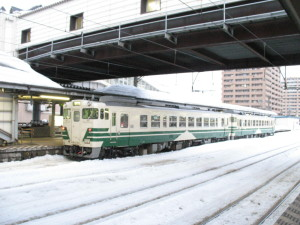 Local train to Oga line stopped at platform #2. (C) JP Rail