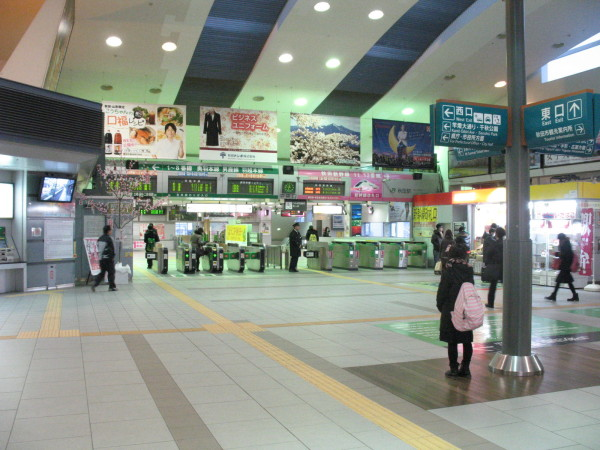 Akita station main exit. There is Akita Shinkansen ticket gate all the way back on right side.